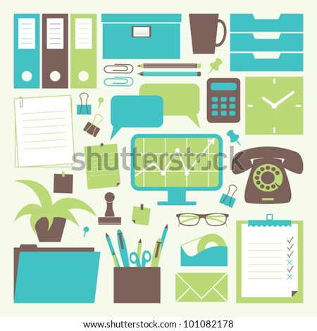 A collection of office related objects. - stock vector