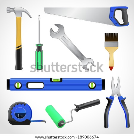 A collection of realistic house maintenance or repair carpenter tools isolated icons set of hammer saw pliers and wrench vector illustration - stock vector