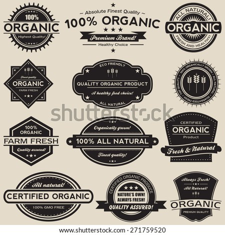 A collection of 12 retro vintage style organic food label vectors.