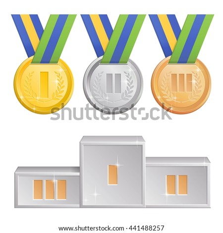 A collection of shining sports competitions award medals, gold, silver and bronze medals with green, blue and yellow ribbons and a silver podium for first, second and third winners.