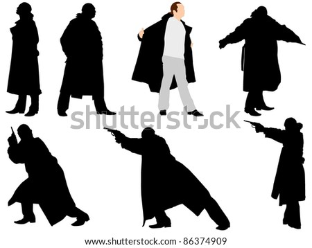 A collection of silhouettes of gangsters. Vector - stock vector