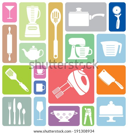 A collection of simple kitchen related vector based icons. - stock vector