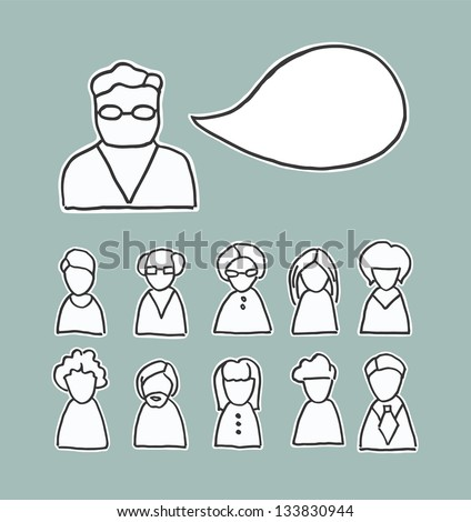 A collection of simplistic line drawing people icons and a speech bubble with space for your text. Adults men and women of varying looks - stock vector