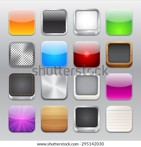 A collection of sixteen app icons templates. - stock vector