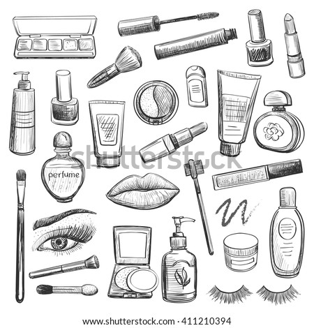 A collection of sketches on make-up , cosmetics . Lipstick , mascara , powder , eye shadow , brushes , perfume, cream , nail polish .