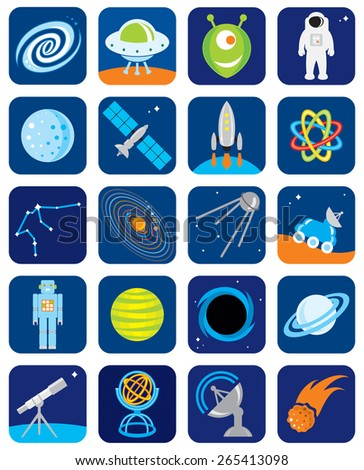 A collection of space icons. - stock vector
