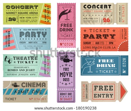 A collection of ten vector grunted Tickets, Vector file is organized with layers, with every ticket divided into 3 layers, separating Background Shape from the texture effect and text. - stock vector