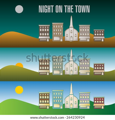 A Collection of Town Buildings - stock vector