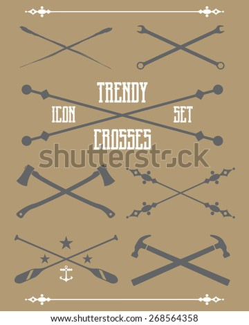 A collection of trendy vector crosses. Suitable for creating your own shirt graphics and trendy logos. - stock vector