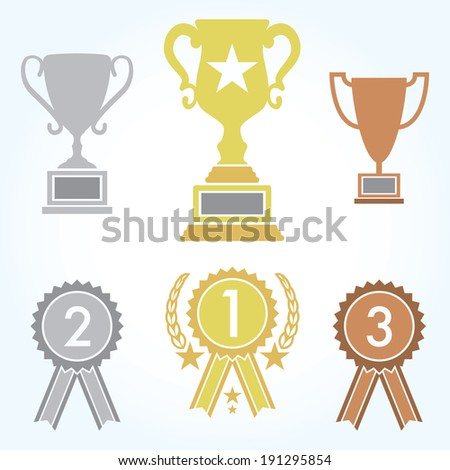 A collection of trophies and ribbons for first, second, and third place contestants. - stock vector