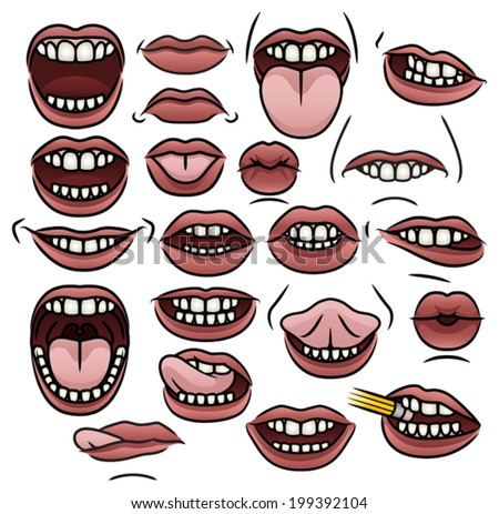 A collection of twenty one illustrations of cartoon mouths with different positions and expressions. Eps 8 Vector.