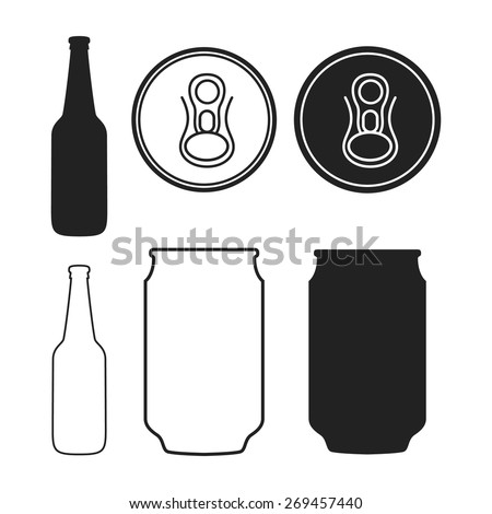 A Collection of Vector Beer Related Illustrations with a Bottle and a Can. - stock vector