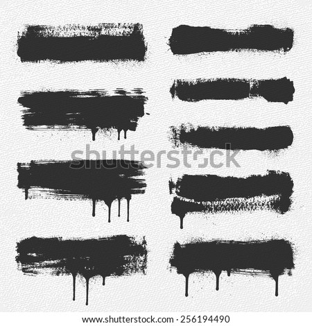 A collection of vector brush strokes. The dripping paint and the spray around the edges are separate objects for easy removal. - stock vector