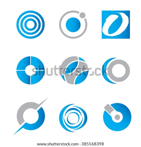 A collection of vector circle icons suitable for use in branding projects. - stock vector