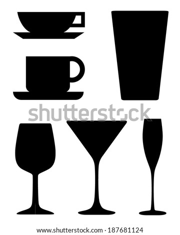 A collection of vector glasses, mugs and cups  - stock vector