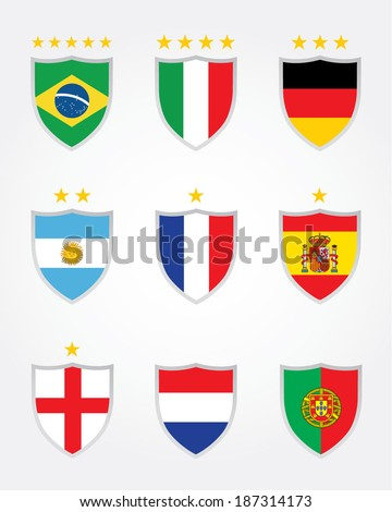 A collection of vector international soccer crests including World Cup champions