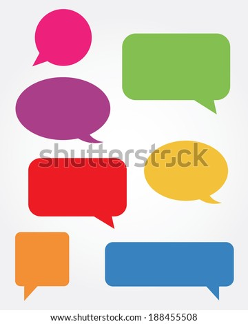A collection of vector speech and thought communication bubbles - stock vector