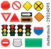 A collection of vector traffic signs and map symbols. Stop, yield, traffic lights, interstate and highway icons, one way, detour, construction, railroad, do not enter. - stock vector