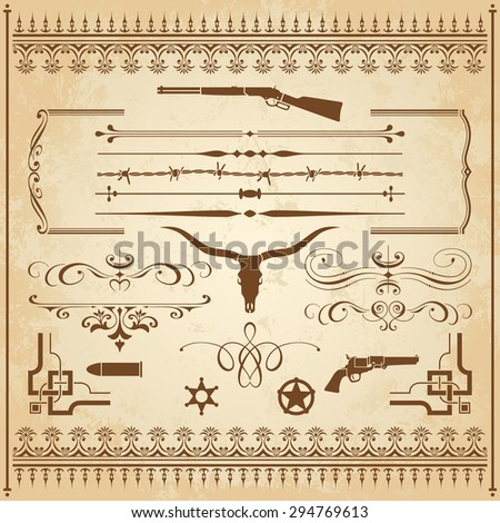 A Collection Of Wild West Ornament, With Frames, Rulers, Angle Ornaments  And Clipart