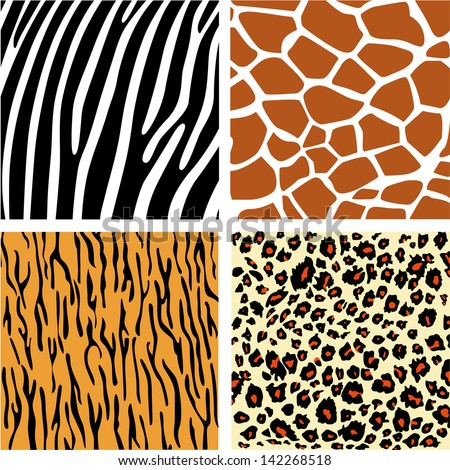 A collection set of four different animal print backgrounds - stock vector