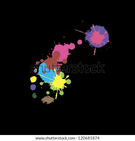 A color copy of a human foot on a black background - stock vector