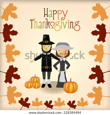 a colored background with a traditional couple, pumpkins and leaves for thanksgiving