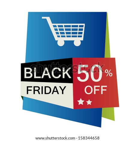 a colored icon for black friday with a cart silhouette - stock vector