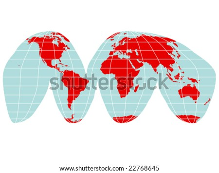 A colored vector map of the world with grid lines - stock vector