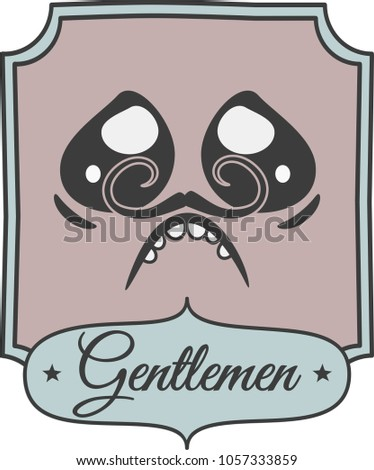A Colorful Bathroom Sign With Newspaper Style Gentleman Face Caricature Moustache Having Urge