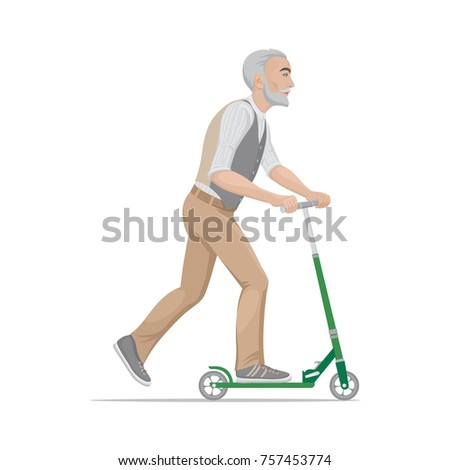 A colorful cartoon drawing, elderly fashionable, sports hipster man is riding a scooter. Vector illustration, isolated on background.