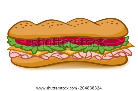 A colorful cartoon Sub Sandwich with lettuce,tomato,meat,and cheese - stock vector