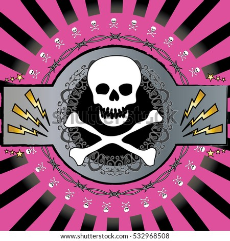 A colorful, cool skull and barbed wire background vector. Heavy metal, rock music feel.