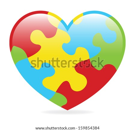 A colorful heart made of symbolic autism puzzle pieces. - stock vector