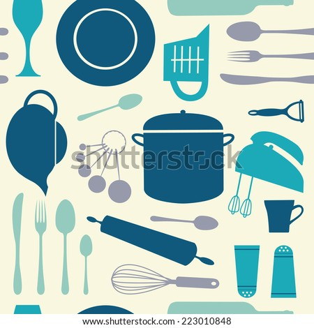 A colorful seamless kitchen pattern. vector illustration - stock vector