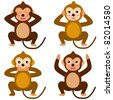 A colorful set of cute Animal Vector Icons : Monkey - See Hear Speak No Evil - stock vector