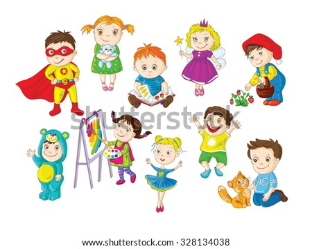 A colorful set of happy toddlers doing different activities and having fun - stock vector