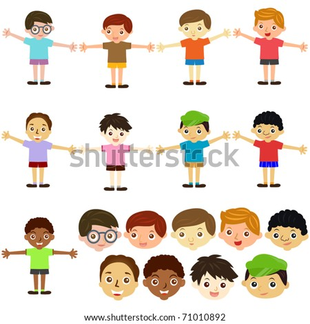 A colorful Theme of cute vector Icons : Little boys, Man, Kids (Male Set) - stock vector