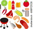 A colorful Vector Icons : set of Barbecue (BBQ) theme isolated on white - stock vector