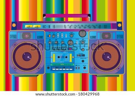 a colorful vector illustration of a fantastic retro ghettoblaster  - stock vector
