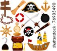 A colorful vector Theme of Pirate, equipments, sailing. - stock vector