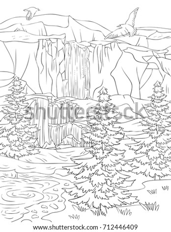 A Coloring Pagebook For Adults And Children Nature Landscape With AnimalLine