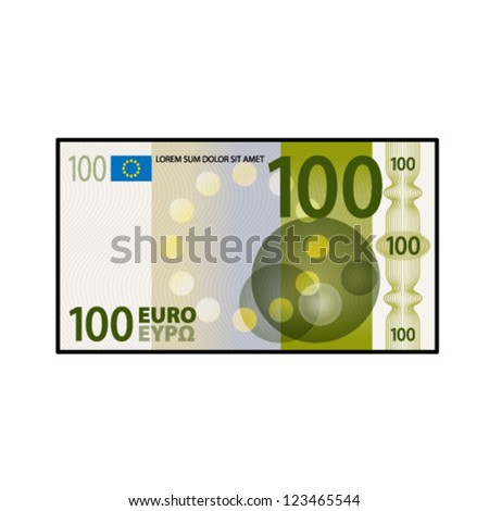 A colourful $100 €100 bank note / paper money. - stock vector