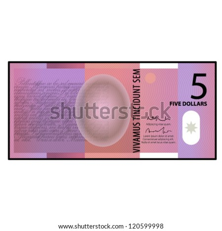 A colourful $5 bank note / paper / polymer money. - stock vector