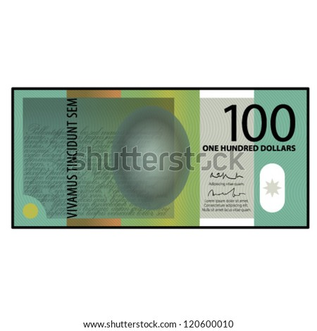 A colourful $100 bank note / paper / polymer money. - stock vector