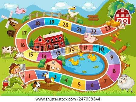 A colourful boardgame with numbers - stock vector