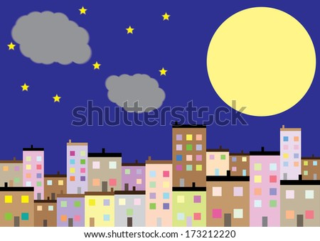 A Colourful Housing Estate at Night. Vector - stock vector