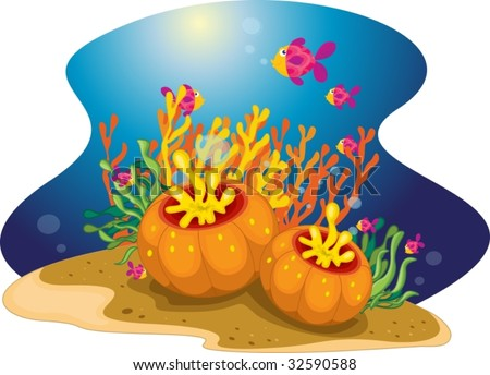 A colourful school of fish swimming past sea plants - stock vector