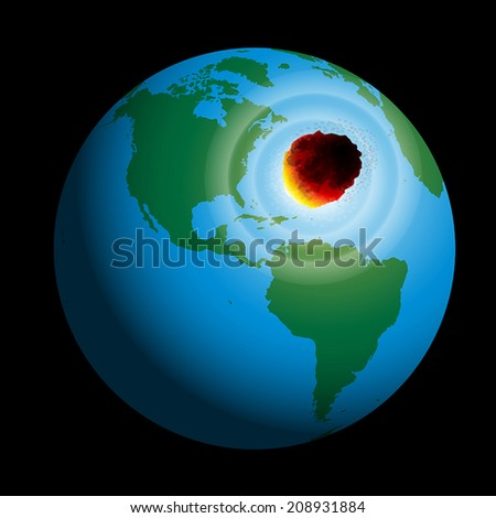 A comet hits planet earth. Vector illustration on black background. - stock vector