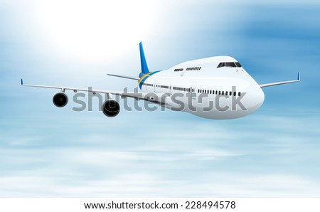 A commercial aircraft in flight - stock vector