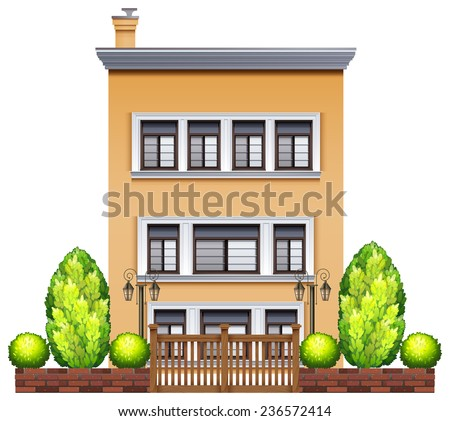 A commercial building with a fence on a white background - stock vector